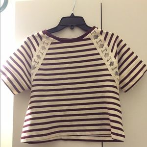 Striped red & ivory cropped lace inset knit top